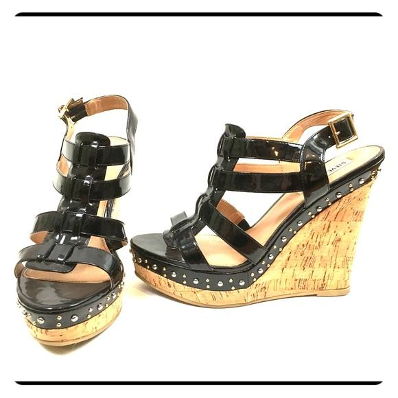 79e7935966b Black Studded Cork Platform Strappy Wedge Sandals.  M 5b2db1666a0bb749130669cf